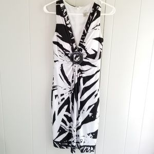 Cache Dress Black and White Built-in Bra Size 6
